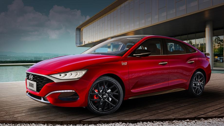 Hyundai lafesta. Решётка сохранила сетчатую структуру, но покрылась «рояльным лаком» (была хромированной). Добавлены юбки, красные суппорты, матовые 18-дюймовые диски. Размеры прежние: 4660×1790×1425 мм, между осей 2700. Топовый седан разменивает сотню за 7,6 с, максималка — 220 км/ч.
