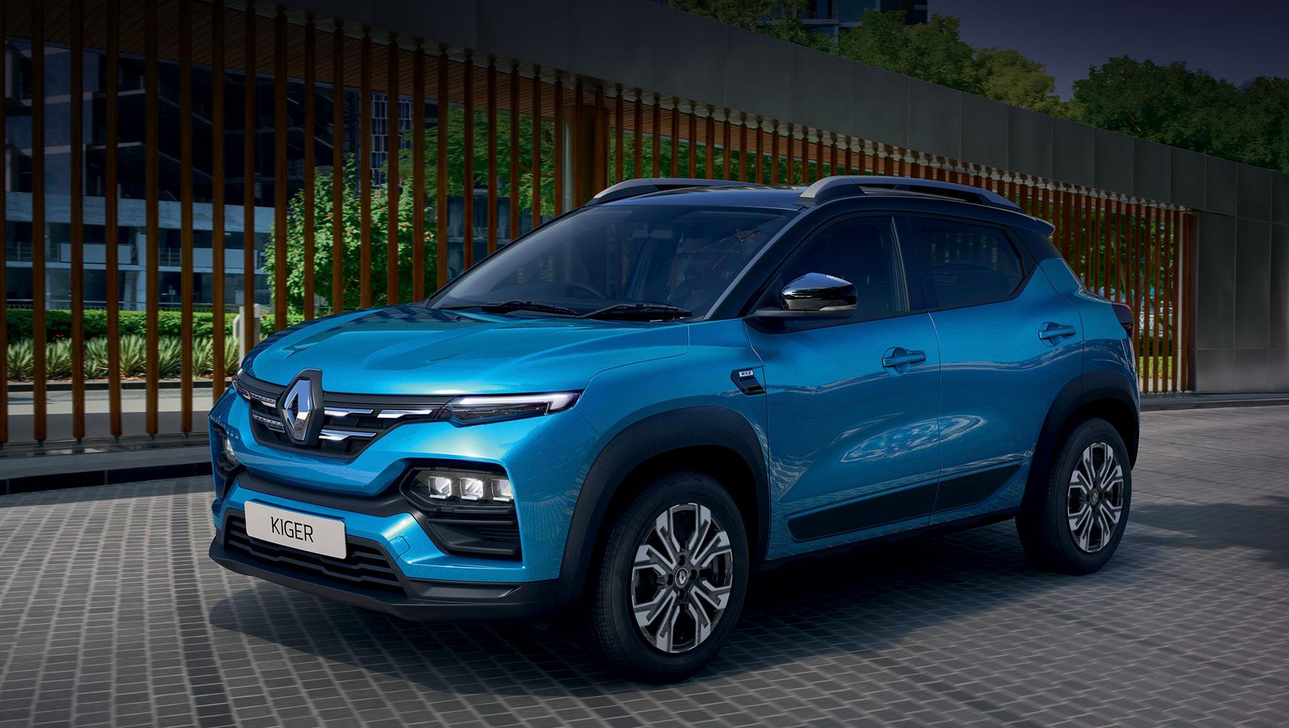 Renault kiger. Реношники не скрывают, что Kiger унифицирован с трёхрядным микровэном Renault Triber. У Кайгера схожие размеры: длина — 3991 мм (+1), ширина — 1750 (+11), высота — 1600 (-43), колёсная база — 2500 (-136), клиренс — 205 мм (+23). Снаряжённая масса составляет 1012 кг (+38).