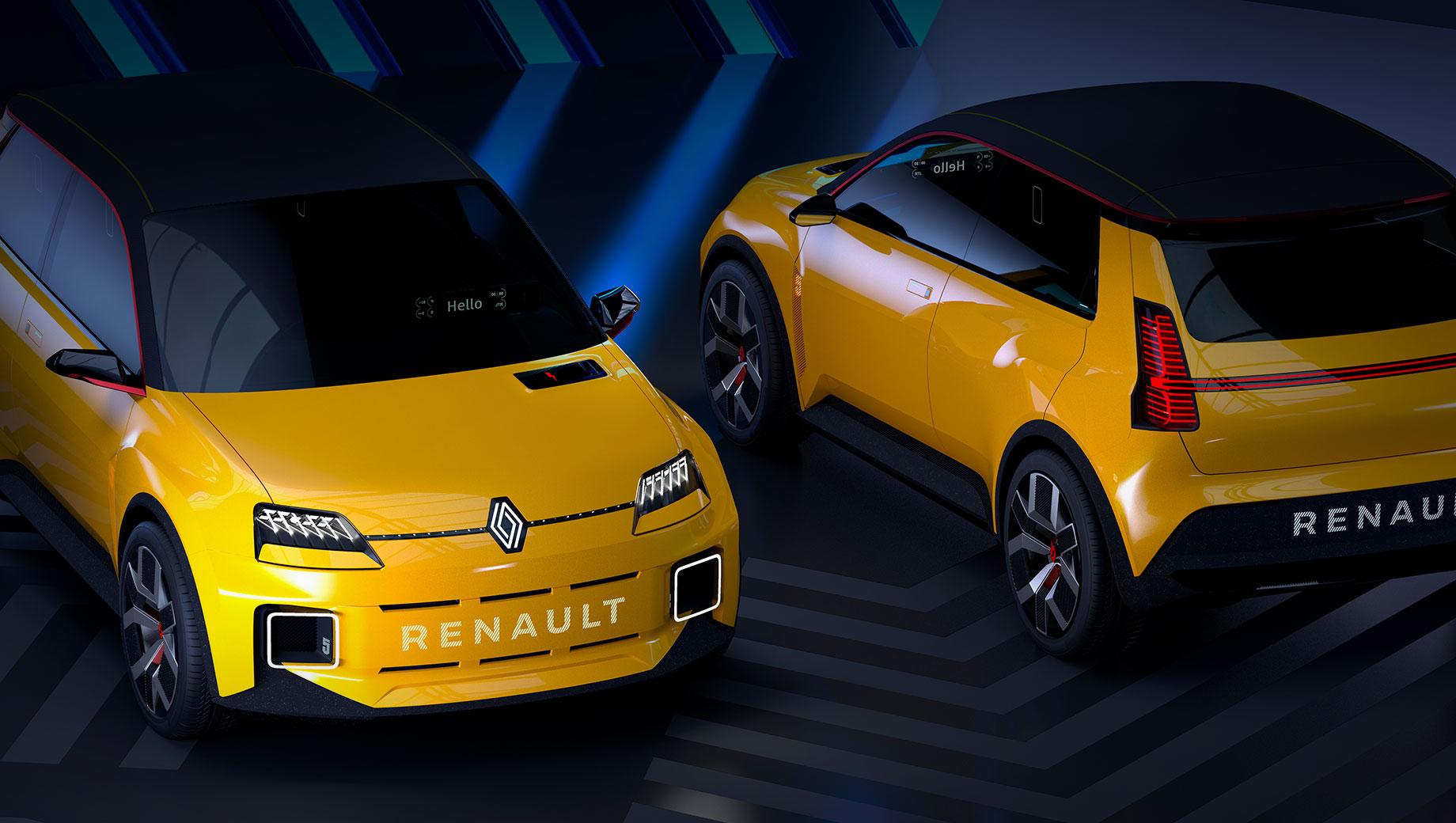 Renault twingo,Renault 5. Renault 5 Prototype был показан без интерьера и характеристик. Он считается реинкарнацией Renault 5 (1972–1996) и первым представителем «новой волны» (Nouvelle Vague), включающей 14 моделей: одна половина будет электрокарами, другая, с ДВС, обоснуется в сегментах C и D.