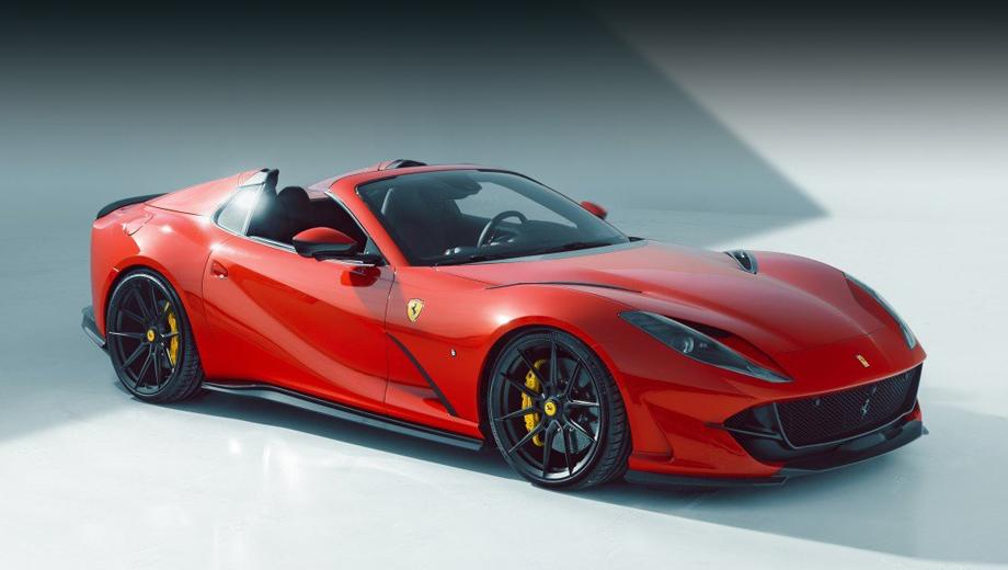 Ferrari 812 gts. Двухдверке GTS немцы отрядили набор углепластиковых деталей вроде увеличенного сплиттера, изменённого обрамления центрального воздухозаборника, новых порогов, накладок на вентиляционные прорези на капоте и крыльях, корпуса зеркал.