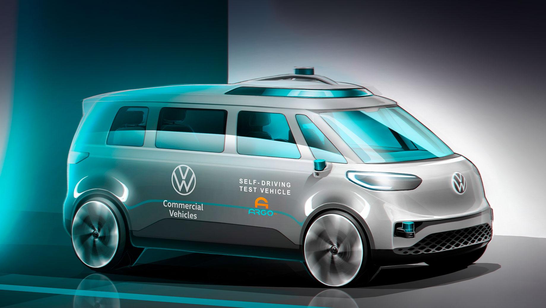 Volkswagen id buzz,Volkswagen id buzz cargo. Официально заявлено, что развитие микроавтобуса «идёт полным ходом», чтобы он дебютировал в 2022 году. Процесс разработки назван «электрификацией культового Bulli». Вероятно, ID. Buzz сменит имя на ID.7. Систему «самоуправления» SDS (self-driving system) установит Argo AI.
