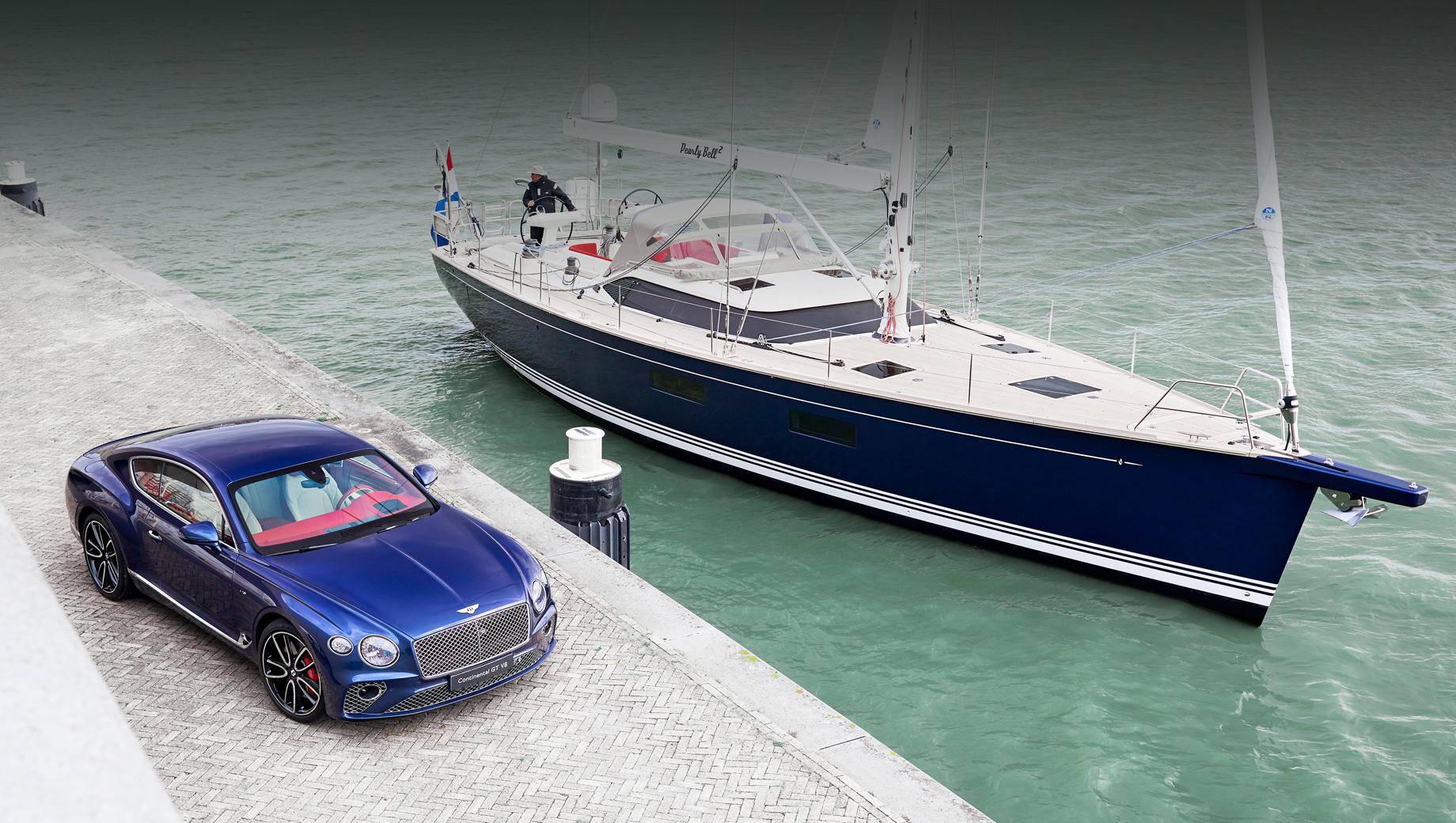 Bentley continental gt. Купе использует твинтурбовосьмёрку 4.0 с отдачей в 550 л.с. и 770 Н•м, а яхта — парус площадью 102 м² и вспомогательный 150-сильный мотор Volvo Penta.