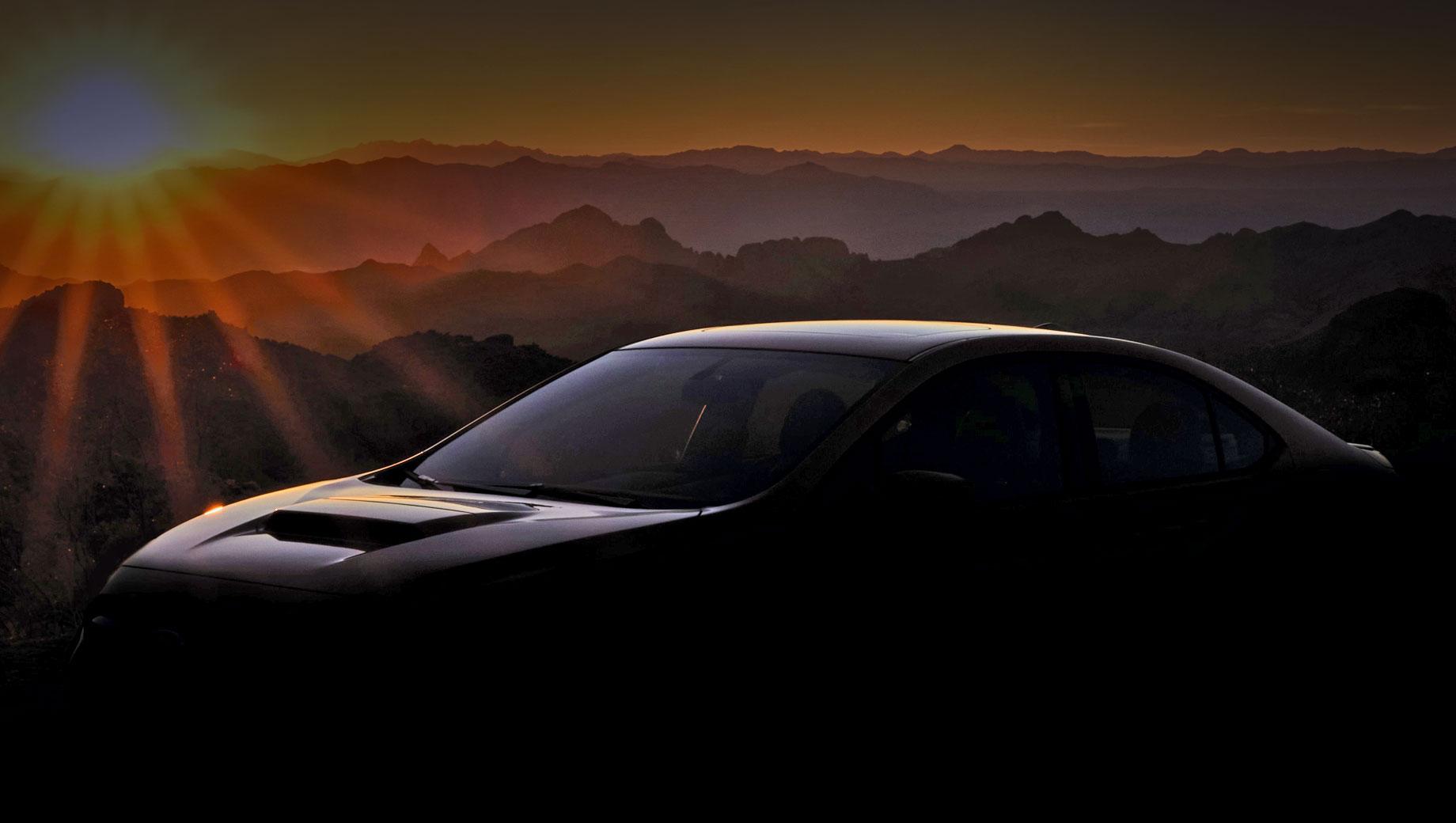 Subaru wrx. Новая четырёхдверка продвигается под сомнительным девизом «Только легенды становятся сильнее». Ничего, кроме воздухозаборника на капоте, не видно даже при высветлении тизера. Поэтому кажется, что перед нами результат не очень глубокого рестайлинга.