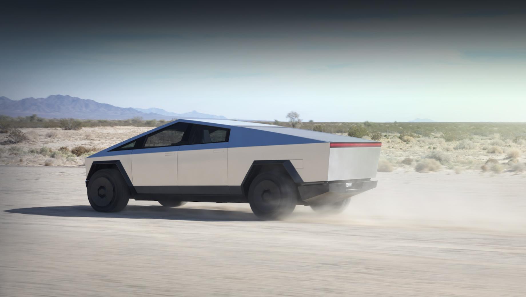 Tesla cybertruck. Для Кибертрака задумано три версии: заднеприводная с одним электромотором, полноприводная с двумя и полноприводная с тремя. Они должны набирать 60 миль/ч с нуля за 6,5; 4,5 и 2,9 с — и проходить на зарядке 402, 483 и 805 км.