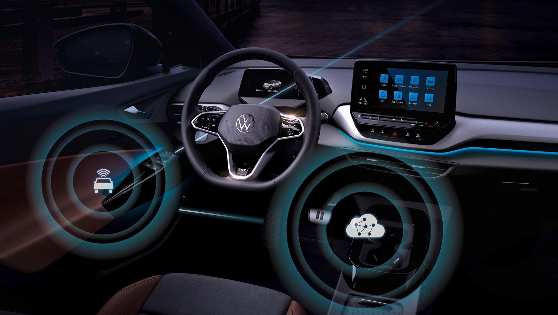 Volkswagen id 3,Volkswagen id 4. Немцы говорят, что делают «следующий большой шаг» к превращению в «провайдера мобильности». Мол, бренд Volkswagen становится первым крупным производителем, который регулярно обновляет ПО посредством мобильной передачи данных и тем самым закладывает основу для новых бизнес-моделей.