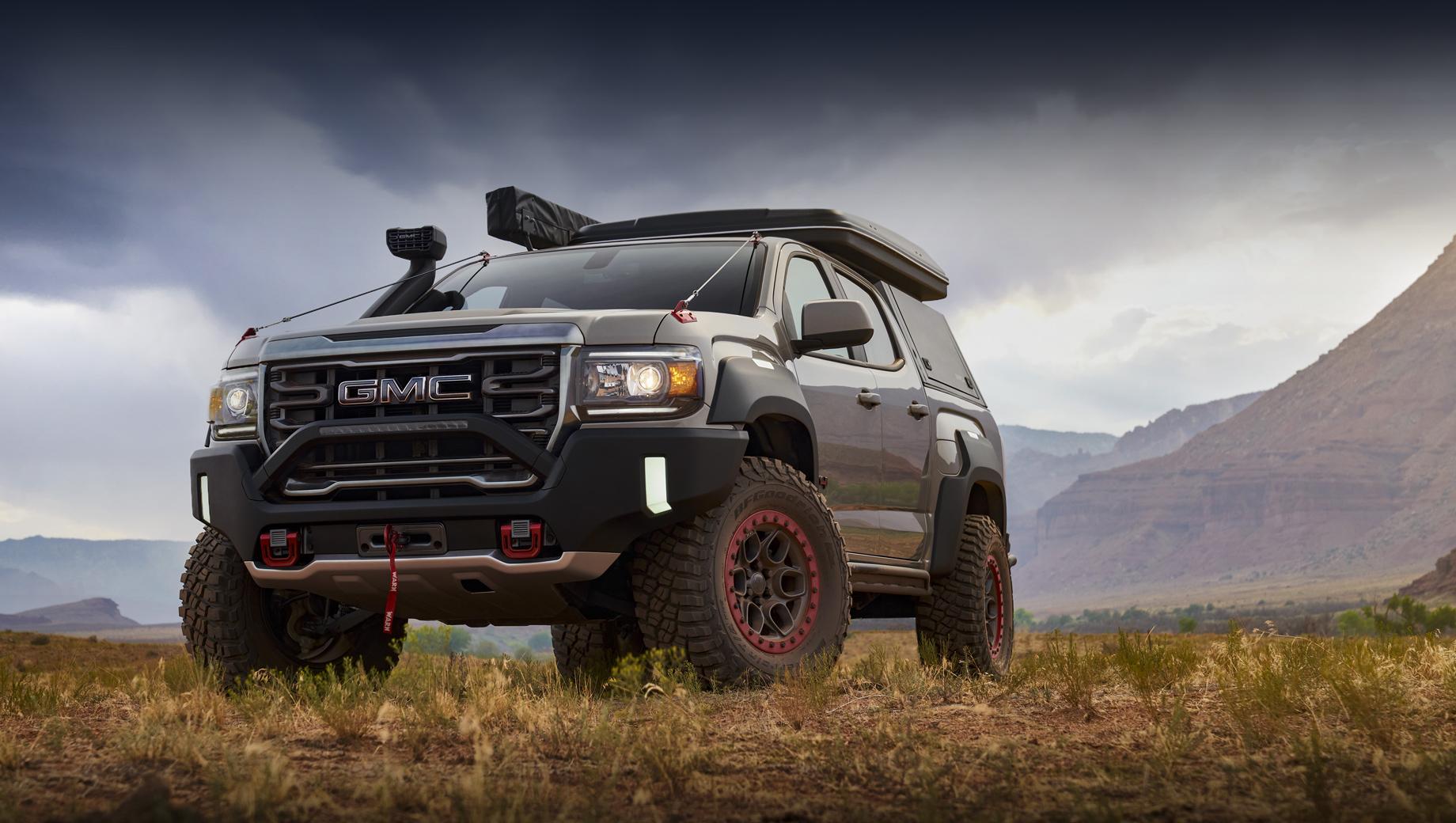 Gmc canyon,Gmc canyon at4,Gmc concept. Автомобиль был подготовлен к выставке оборудования для путешествий и кемпинга Overland Expo Mountain West 2021, прошедшей на выходных в Лавленде (штат Колорадо).