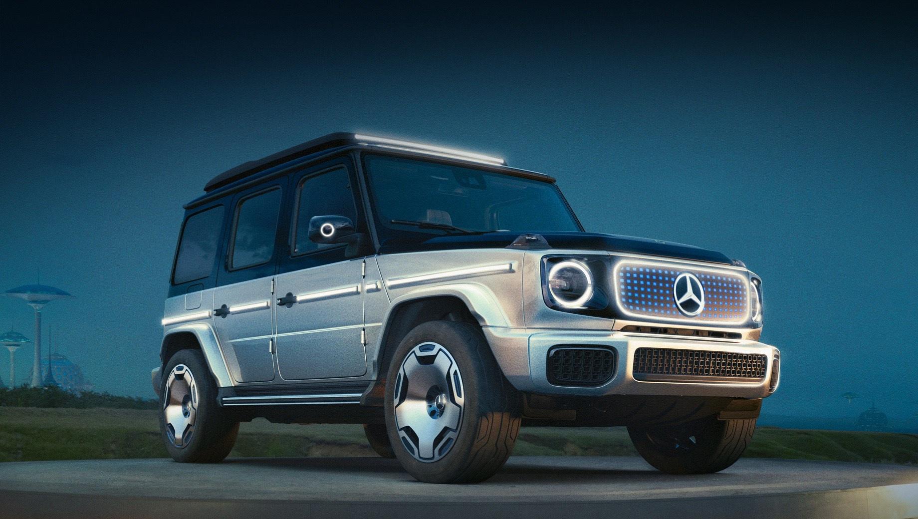 Mercedes g. Концепт показан без интерьера, технических характеристик и обещаний по срокам. Кузовное «железо» нарочито повторяет обычный G-ваген, чтобы сохранились «знаковые элементы стиля». Решётка заменена панелью с узором из синих «круглых квадратов», 3D-эффектом и диодной подсветкой.