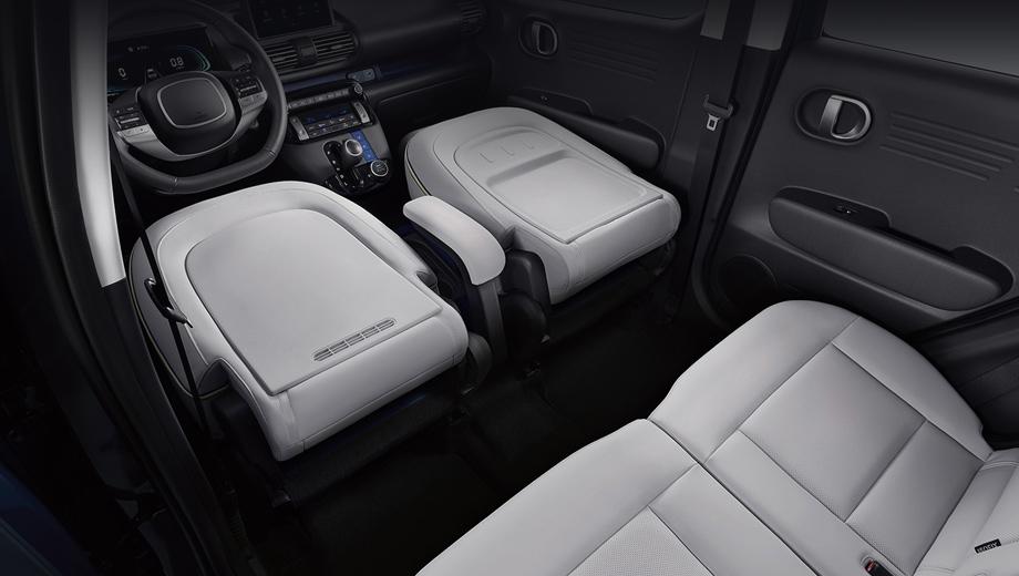 Hyundai casper. В новом Hyundai даже водительское сиденье на стоянке можно быстро сложить, не говоря уж об остальных.